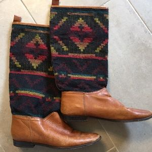 Vintage Aztec Tapestry Riding Boots By Unisa 8B